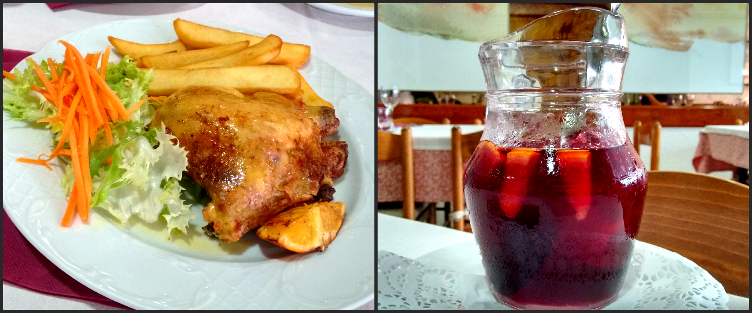 Catalan food- shallot chicken and Spanish drink Sangria