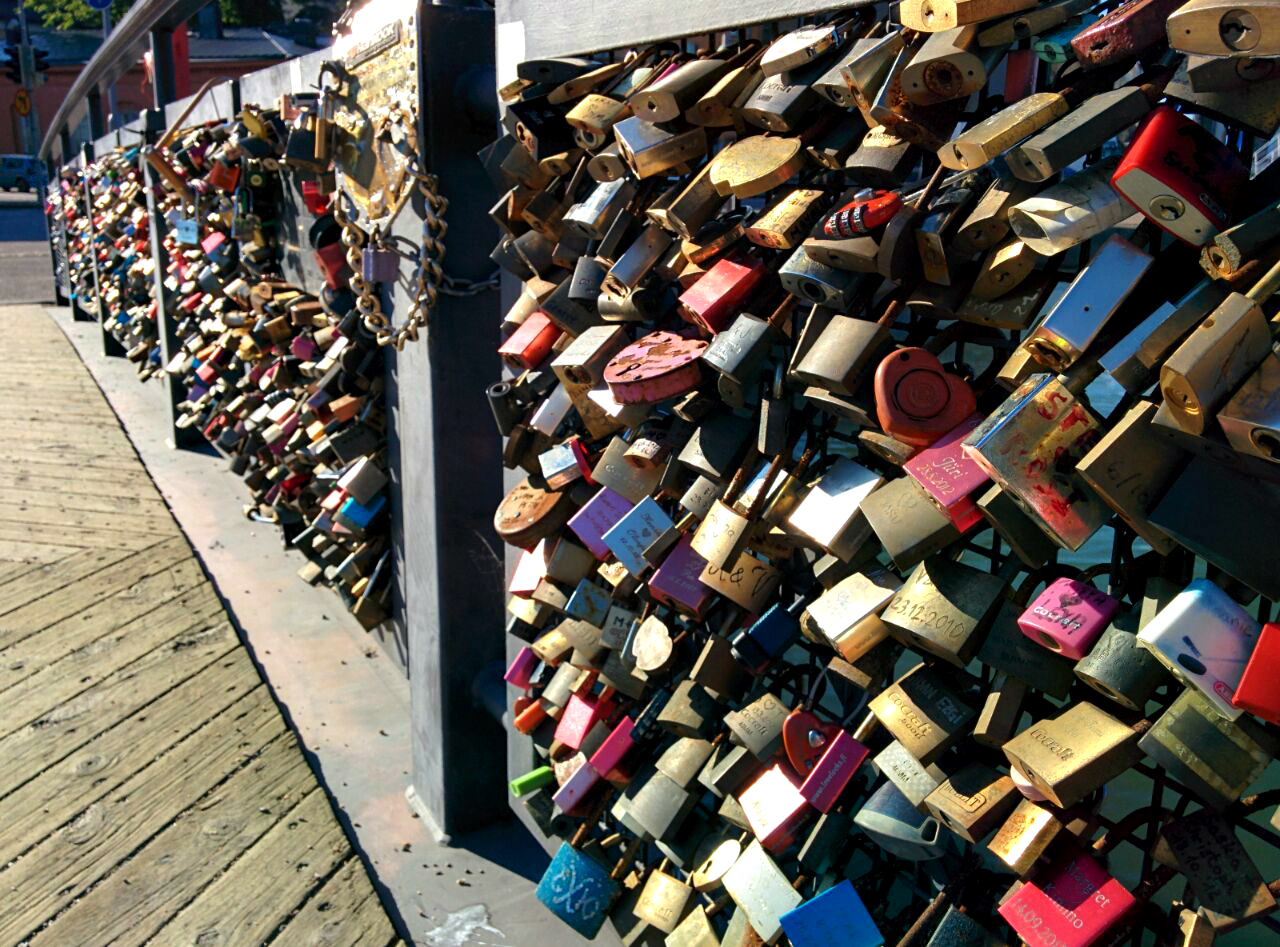 Lock & key Bridge near Upsenski Church, Hesinki