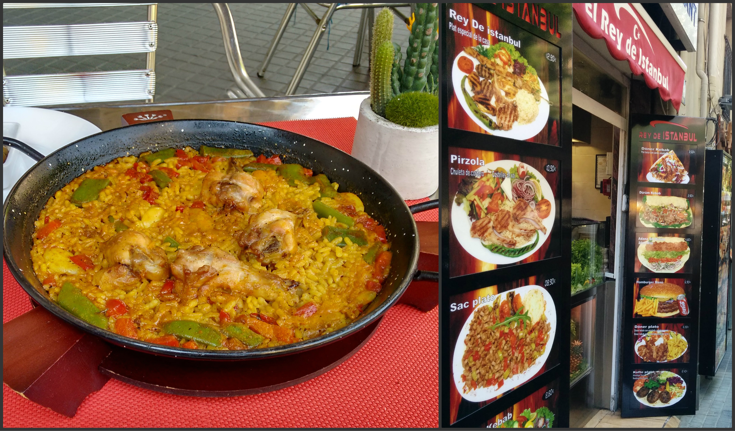 Spanish food Paella and roadside restaurants